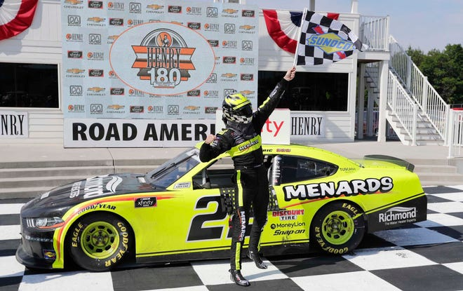 Austin Cindric celebrates his victory in the NASCAR Xfinity Series Henry 180 at Road America in August.