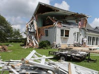 The Childs' home on Black Diamond Road north of Smyrna shows the effects of being in the path of a tornado.