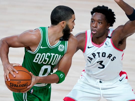 Jayson Tatum scored 18 points in the Celtics' rout of OG Anunoby and the Raptors.