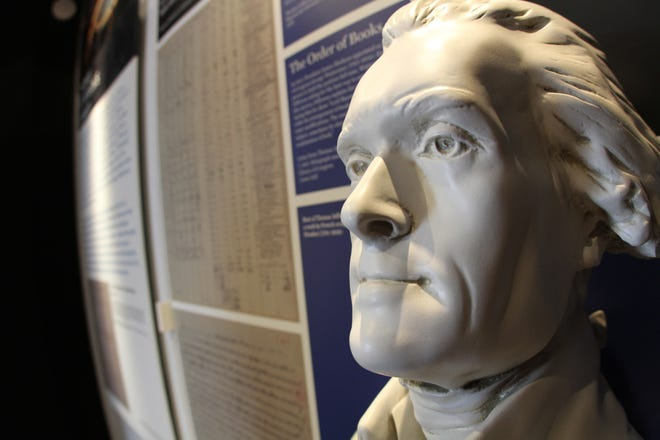 A bust of Thomas Jefferson copied from the work of French sculptor Jean-Antoine Houdon (1741-1828) is part of a traveling exhibition, Gateway to Knowledge. [FILE PHOTO/GANNETT]