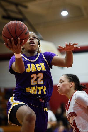 Jack Britt senior Ashara Hayes has gotten scholarship offers from Fayetteville State and Rollins. She'll be returning to a Bucs squad that swept the Sandhills season and tournament titles last season. (Andrew Craft/The Fayetteville Observer, file photo)