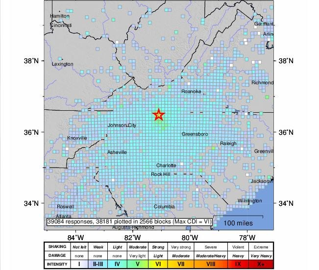 This USGS map shows all of the locations where North Carolina residents felt the earthquake Sunday morning. Most areas are reported no or very light damage.