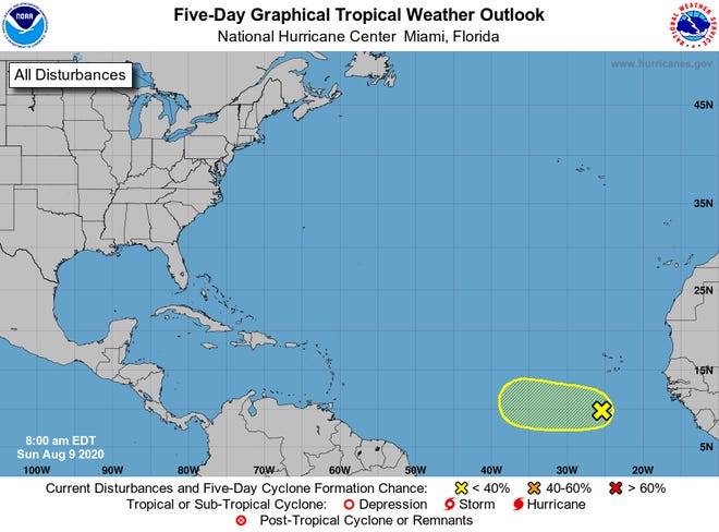 Here is the National Hurricane Center's Atlantic five-day tropical weather outlook for Aug. 9.