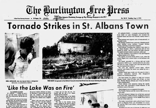 A clipping of the front page of the Aug. 4, 1970 Burlington Free Press.