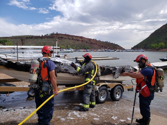 An explosion led to a boat fire on Horsetooth Reservoir on Saturday, Aug. 8, 2020.