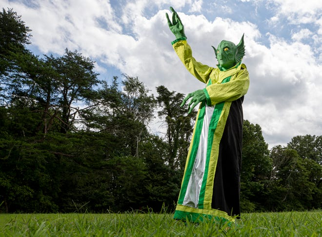 Glenda Sutton Morris' father, Lucky, was involved in the 1955 shootout with space aliens in the Kelly area of Christian County Ky.  Each year she dresses up as an alien for the Little Green Men Days Festival. Aug. 5, 2020