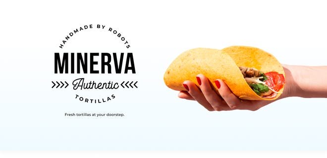 "In the full advertisement from Minerva Authentic Tortillas, the business describes its tortillas as being ""handmade by robots""  and has a tagline of ""Fresh tortillas your your doorstep."""