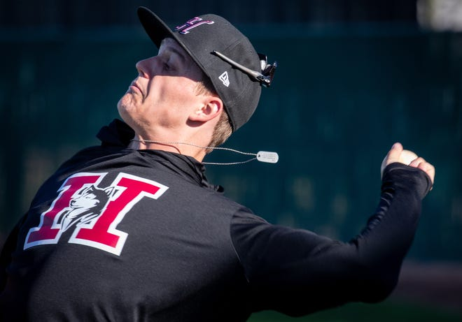 Brock Selvidge throws during practice, February 17, 2020, at the Hamilton High School baseball field, 3700 S Arizona Ave., Chandler.