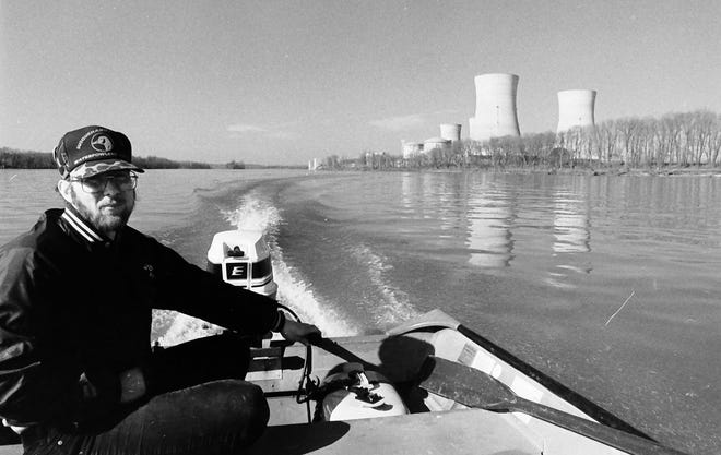 The Three Mile Island nuclear accident was only seven years old in 1986 and clean-up continued for several more years. The now shuttered plant can be seen in the background.