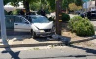 A car hit a power pole near Hartnell Avenue in Redding on Sunday, causing cable lines to fall in the roadway.