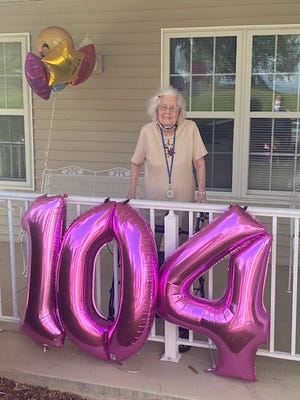 Margaret Purvis, turned 104 on Sunday, Aug 9.  She lives at the Magnolia House in Quincy.