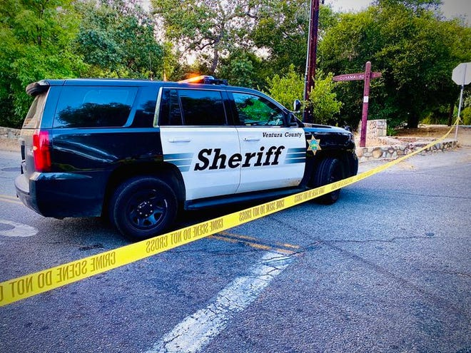A Ventura County Sheriff's patrol car on Ojai's Cuyama Road, where a vehicle fatally struck a bicyclist in August 2020.