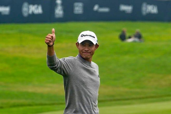 Collin Morikawa celebrates after winning the PGA Championship at TPC Harding Park on Sunday in San Francisco.