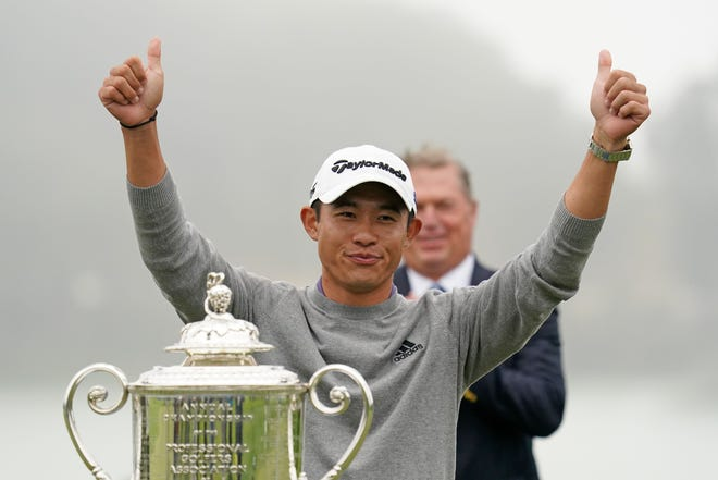 Collin Morikawa celebrates after winning the 2020 PGA Championship golf tournament at TPC Harding Park in San Francisco on August 9, 2020. [Kyle Terada-USA TODAY Sports]