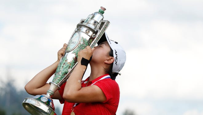 Rose Zhang celebrates after winning the 2020 U.S. Women's Amateur at Woodmont Country Club in Rockville, Md. on Sunday.