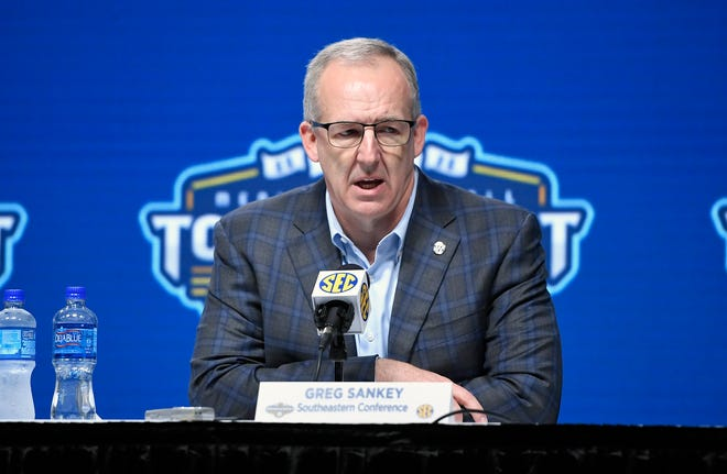 SEC commissioner Greg Sankey and other college football leaders face difficult decisions during COVID-19. [Steve Roberts-USA TODAY Sports]