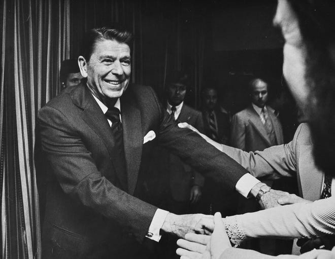 Ronald Reagan used his 1980 debate with incumbent President Jimmy Carter to show with his wit and demeanor that he was anything but the reactionary of the major media's depiction. [FILE PHOTO/GANNETT]