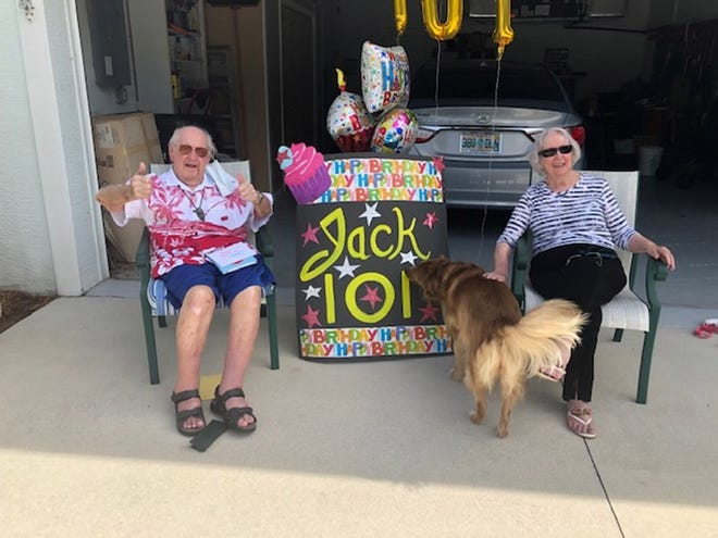 "James G. ""Jack"" Smith celebrates his 101st birthday Aug. 3, 2020, with Jeannie McIntyre in North Port. [Submitted photo]"