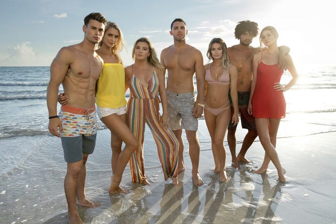"""Original cast members of the MTV series """"Siesta Key"""" when it debuted in 2017. Alex Kompothecras, center, has been fired and edited out of the series because of past racist social media posts."""