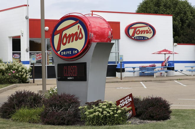 Tom's Drive In at 1151 Wittman Park Lane in Menasha has a closed sign on Monday.