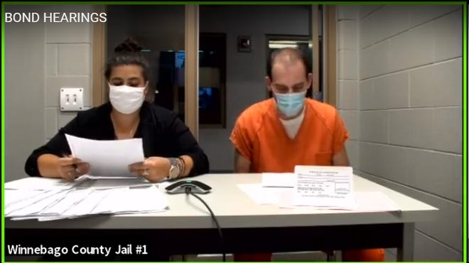 Joshua W. Aide, 39, of Monticello, appears with public defender Emma Blankschein via Zoom video conference from the Winnebago County Jail during an initial appearance Monday, Aug. 10, 2020, in Winnebago County Circuit Court.