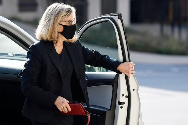 Former Buncombe County Commissioner Ellen Frost arrives at US District Court August 10, 2020.
