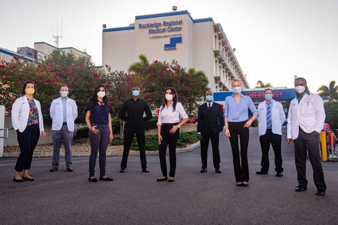 Medical students from Burrell College of Osteopathic Medicine, in partnership with Florida Tech begin clinical rotations at Rockledge Regional Medical Center this month. Pictured from left: Jessica Bonilla, Mauel Modesto, Nishath Rahman, Tony Besong, Savin Pillai, Paul Uzodinma, Kelsey Thierault, Chris Voloshin and Amaka Ofuani.
