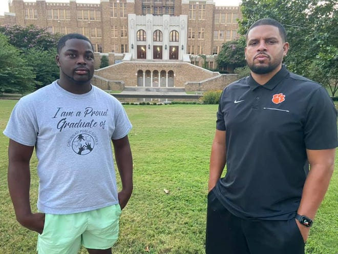 Daniel Ingram and his high school coach Kali Jones stopped by Central High School in Little Rock, Arkansas, about 45 minutes from where Ingram will attend college, the University of Arkansas at Pine Bluff. The school was the site of forced desegregation in 1957 after the U.S. Supreme Court ruled public school segregation was unconstitutional.