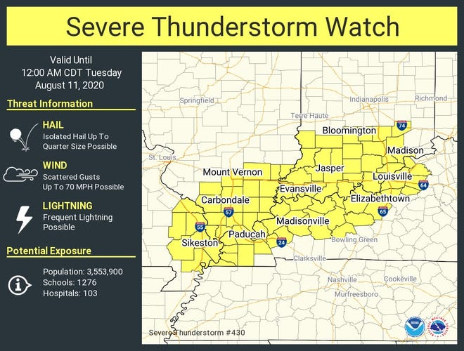 The severe thunderstorm watch area.