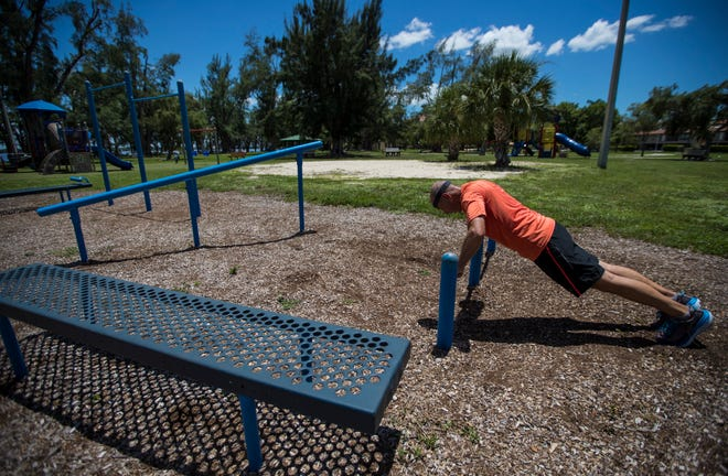 Paul Bowler, of Cape Coral, says he visits Jaycee Park about three times a week to make use of the available exercise stations.