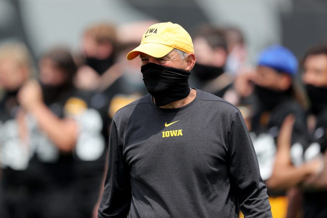Kirk Ferentz is shown during one of the few practices Iowa football was able to hold in early August.