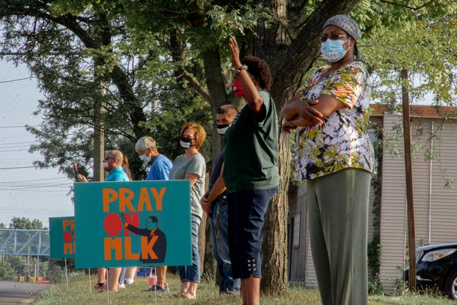 Representatives of churches protested against racism using prayer on Saturday, Aug. 8, 2020.