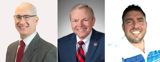 From left, Craig Swartz, D-Upper Sandusky, Rep. Bill Reineke, R-Tiffin, and write-in candidate Robert Taylor, Independent-Bucyrus, are each seeking to become the next person to represent the 26th District in the Ohio Senate. Taylor announced his intention to enter the race via video released on social media on Friday, Aug. 7, 2020.