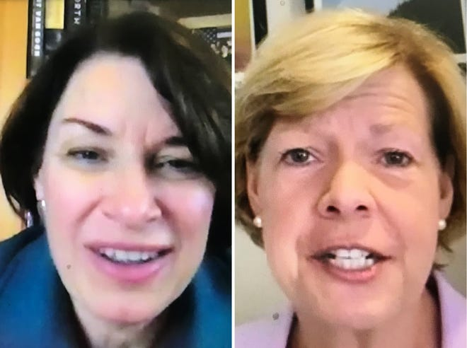 U.S. Sens.  Amy Klobuchar (left) and Tammy Baldwin appeared Monday in virtual campaign events for Joe Biden aimed at voters in Kenosha and Superior.