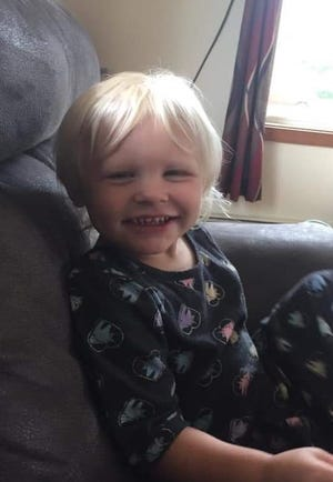 Three-year-old Abigail Ladwig was last seen Sunday evening when she ran barefoot after her dog, a gold and tan cocker spaniel, into woods near her home in Sawyer County. Credit: Family photo