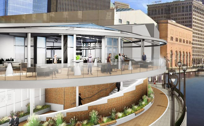 RiverWalk and building facade improvements at downtown's Associated Bank River Center include new outdoor dining space.