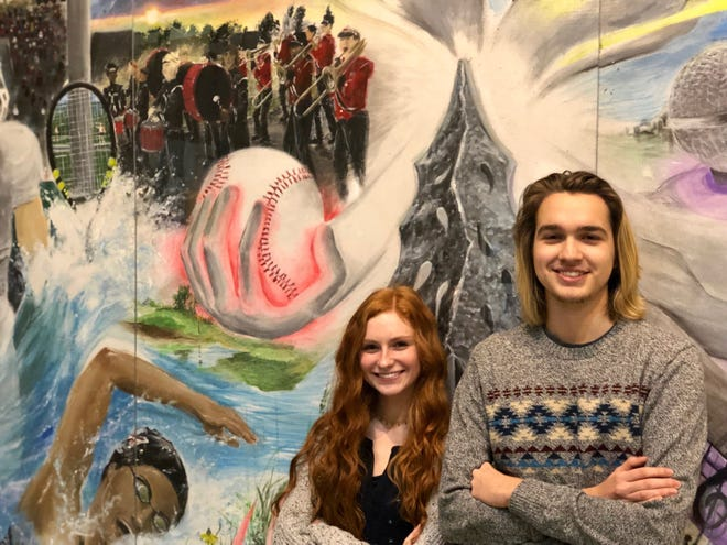 Melanie Davis and Jonah Gibson with their mural at Muskego High School.