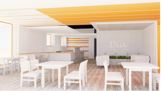 A rendering shows what the interior of Dia Café will look like when it's open. Dia Café, a daytime coffee shop and bakery, and Noche Restaurante, an evening restaurant and bar located in the same building, are expected to be open in late September at 6601 Northway in Greendale.