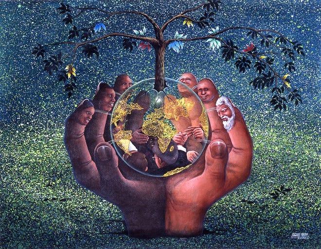 """La Reconciliation c'est le Baiser de la Morale"" by Amani Bodo (Democratic Republic of the Congo, born 1988) acrylic on canvas, 37.6 by 48.82 inches"