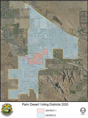 Palm Desert's final map showing voting District 1 in the pink and District 1 in blue.