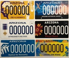 The Arizona Department of Transportation released five new license plate designs Monday.