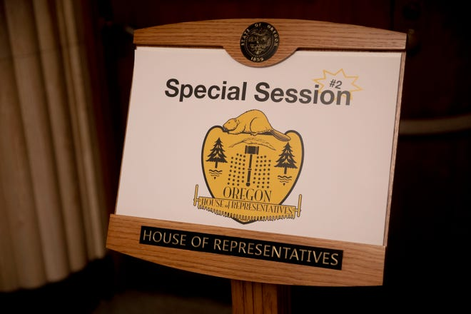 The doors to the House of Representatives are seen during the second special of the Oregon State Legislature at the Oregon State Capitol in Salem, Oregon, on Monday, Aug. 10, 2020. Precautions have been put in place to reduce the number of people in the building during the coronavirus pandemic.