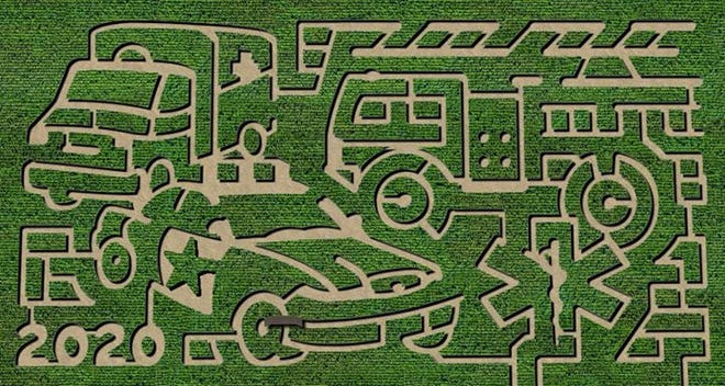 Corn maze in Wall reveals 2020 season design honoring first responders