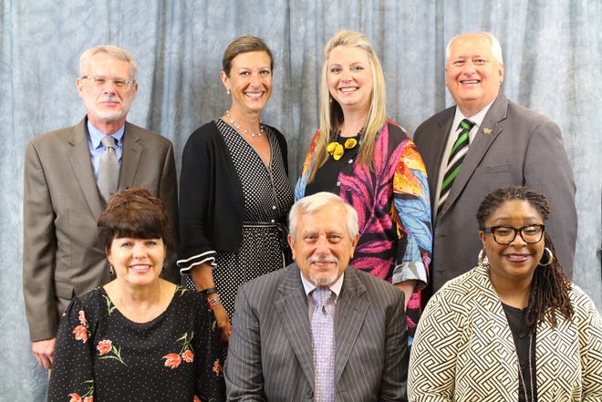 The Springfield school board includes, front from left, Denise Fredrick, Bruce Renner and Shurita Thomas-Tate. The back, from left, include Charles Taylor, Jill Patterson, Alina Lehnert and Gerry Lee.