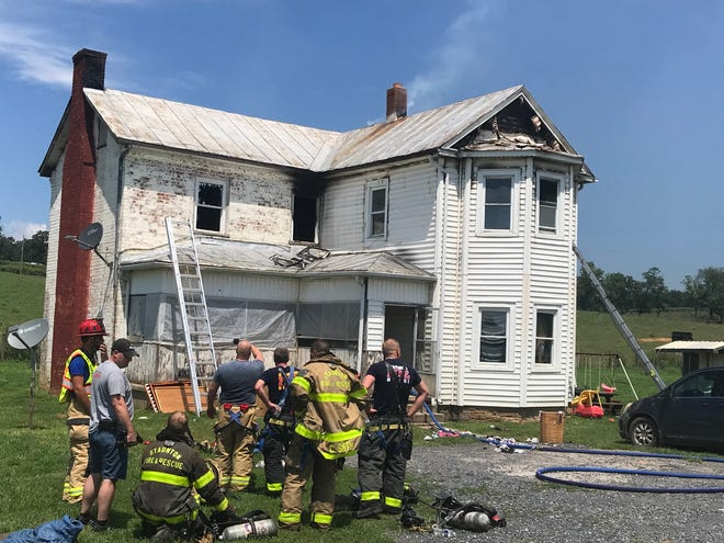 The second-floor of a Churchville home was heavily damaged Monday in a fire on Jennings Gap Road.
