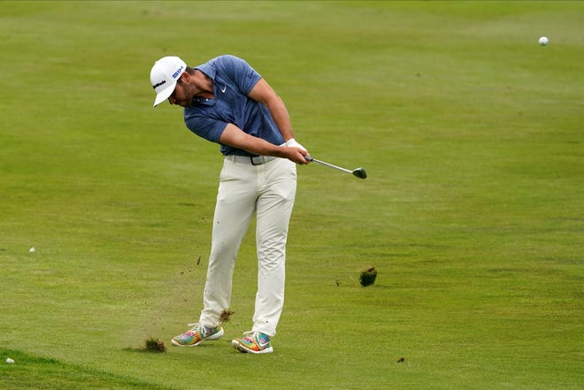 Matthew Wolff hits from the fairway on the 18th hole during the final round of the PGA Championship on Sunday in San Francisco. The Westake High graduate finished tied for fourth in his first major.