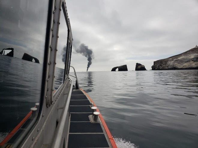 Crews from the U.S. Coast Guard as well as Ventura and Los Angeles county fire departments arrived to put out a boat fire near Anacapa Island on Sunday.