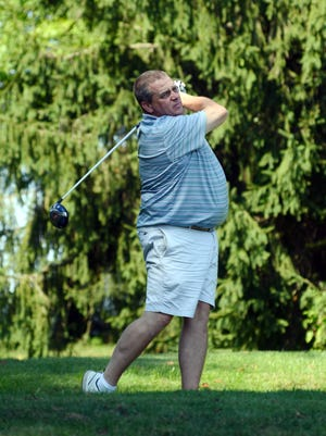 Kevin Terry hits his tee shot on the par4-18th hole during the second round of the Zanesville District Golf Association Senior Amateur on Sunday at Jaycees. Terry shot 82 to make the cut to the final round.