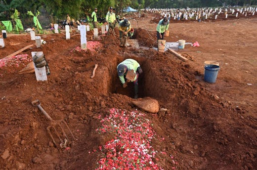 Gravediggers work during a funeral for victims of the COVID-19 coronavirus at the Pondok Ranggon cemetery in Jakarta on Aug. 10, 2020. The country, home to nearly 270 million people, has been easing movement restrictions in a bid to head off economic collapse but COVID-19 infections are mounting, with cases topping 115,000 and more than 5,300 deaths.