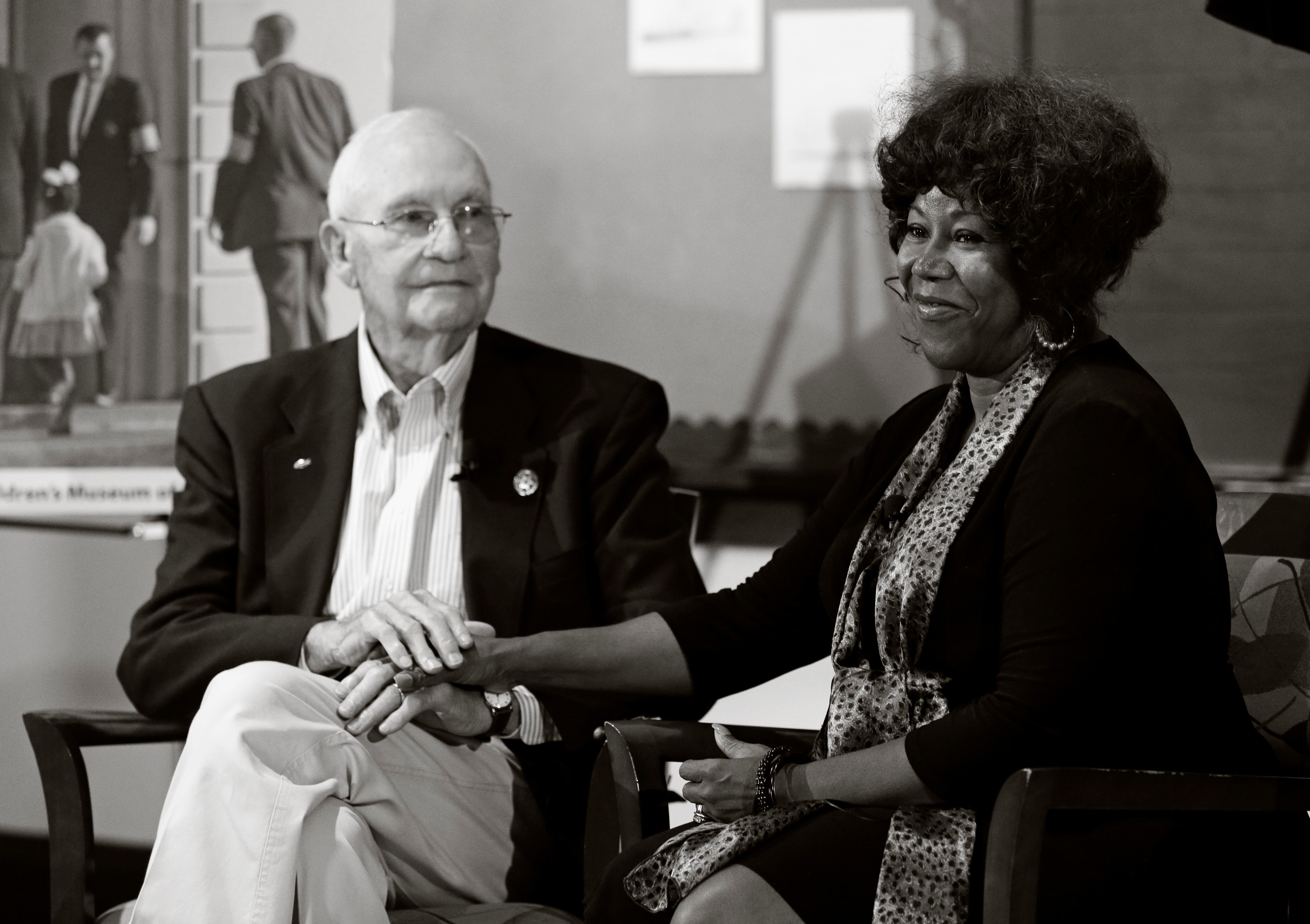 More than 50 years after their first meeting, Ruby Bridges visited with Charles Burks, one of the U.S. marshals who escorted her to and from school when she integrated a Louisiana school in 1960.